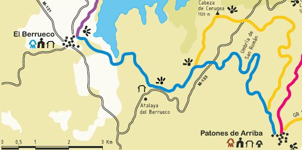Plano senda del genaro El Berrueco Patones